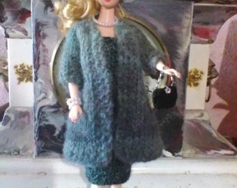 Vintage Style Hand Knit Dress and Coat with Hat Purse Shoes and Jewelry for Fashion Dolls Free Shipping