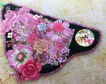 Garden Art, Wearable Art, Bead Embroidery, Needle Felt Bracelet Cuff, Fairy Gypsy Boho Music Dance Festival Wrist Wrap