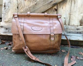 Leather Briefcase Portfolio Crossbody Vintage Brown Messenger Bag Portfolio