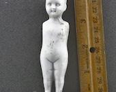 Vintage Antique Excavated German Miniature  Frozen Charlotte Porcelain Ceramic Doll