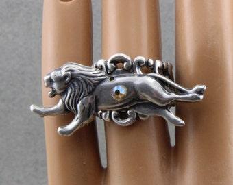 Handmade Lion Running Ring Adjustable Silver Plated Brass