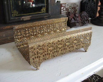 Filigree open top Facial Tissue Holder Ornate Swag Motif
