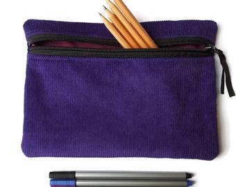Pencil case / zipper pouch /cosmetic bag purple  corduroy