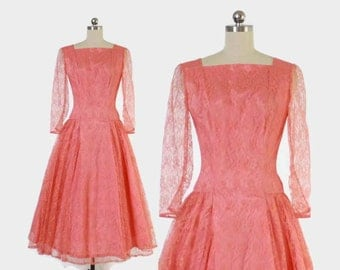 Vintage 50s LACE Dress / 1950s Coral Shell Pink Party Dress S