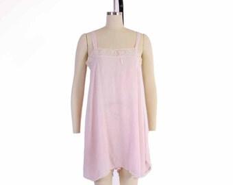 Vintage 20s LINGERIE TEDDY / 1920s Pink Woven Cotton & Lace Flapper Boudoir Step-In Romper S