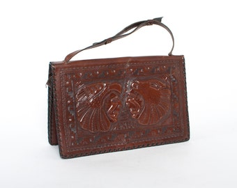 Vintage 40s PURSE / 1940s Tooled Brown LEATHER Aztec Mexican Novelty Purse with Warriors