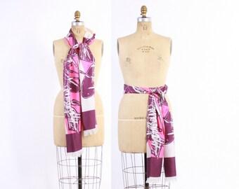 Vintage 70s Designer SCARF / 1970s Emilia Bellini Psychedelic Fringe Hem Long Silk Scarf Belt Head Wrap