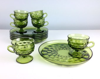 Vintage Green Glass Hostess Set Dessert Plates with Cups, Tea Cup and Saucer, Cake Plates, Thanksgiving Pie Plates With Mugs