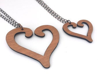 Wood Necklace, Cherry Laser Cut Heart Necklace, Colleen Hoover, It Ends With Us