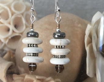 White Howlite earrings