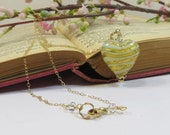 Venetian Murano Heart Necklace, Stripy Aqua Gold Heart Necklace w 14KT Goldfill & Swarovski, Aqua Blue Gold Murano Venetian Heart Necklace
