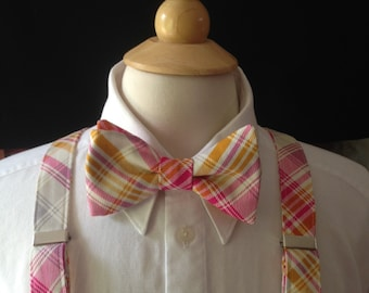 Plaid Bow Tie And Suspender Set / Pink Yellow Gold Grey And White Plaid Pre-tied Bow Tie / Mens Bow Ties / Bow Ties Men / Wedding Bow Ties