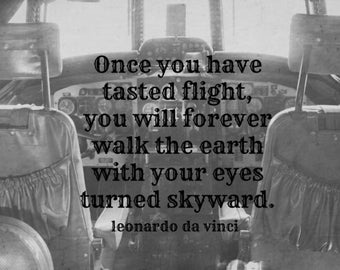 Design aviation Quote flight Art airplane Vintage cockpit photography Black white plane Leonardo da vinci typography Air force print Pilot