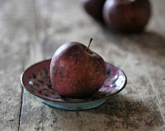 Vintage Small Enamel on Brass Trinket Dish / Pink Floral