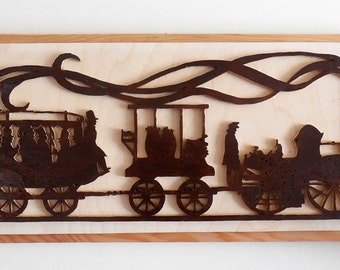 Antique Train Silhouette Wall hanging
