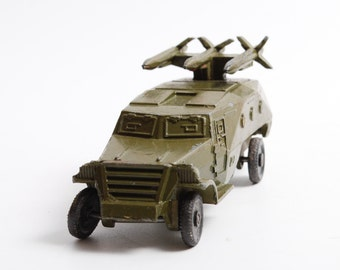 Vintage small model metal toy, rocket launcher, military car with gun USSR Red army,
