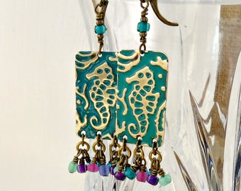 Seahorse Earrings, Textured Metal, Aqua Green, Cluster Earrings, Ocean Inspired Embossed Jewelry, Bohemian Fashion Style