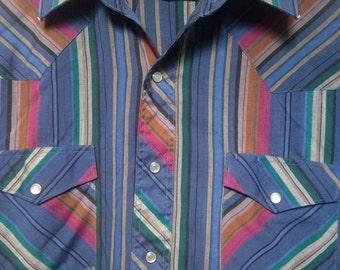 "Vintage Wrangler striped western shirt, medium 42"" chest, pearl snap button, cowboy western yolk, men M snaps, wrangler soft thin 80s 1980s"