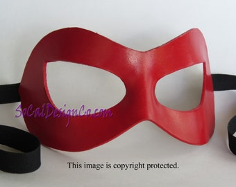 Womens Masquerade Mask - Red - Leather Mask - Halloween Mask - Masquerade Mask - Leather Masks – Venetian Mask – Red Leather Mask