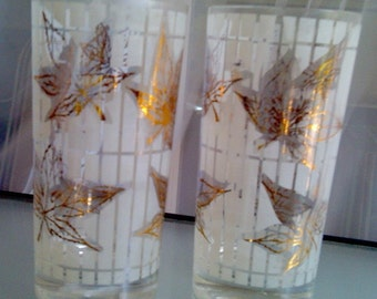 Mid Century Maple Leaf and Frosted Tumblers, Fred Press Design, Vintage Drinkware, Barware, Classic Vintage Glasses, Set of Two Glasses