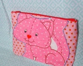 Strawberry Shortcake pink cat applique vintage style cosmetic or pencil bag