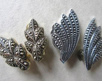 Aluminum Eloxal German Clip On Earrings Leaf, Art Deco Feather Faux Marcasite Vintage 30s Germany