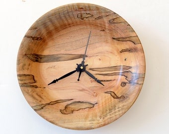 Clock, Turned Wood Clock, Natural Curly Ambrosia Maple