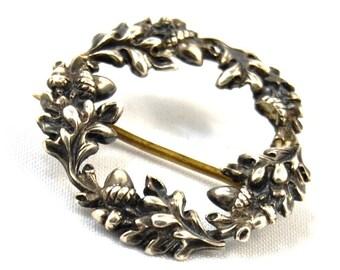 Antique Victorian Silver Wreath Brooch Oak Leaves & Acorns Sentimental Jewelry Friendship