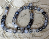 Single black 8mm Round Agate Beads ,agate stone beads loose strands,agate beads findings