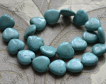 Single 20mm heart turquoise nugget gemstone beads,Turquoise nugget beads jewelry, Gemstone Bead loose strands