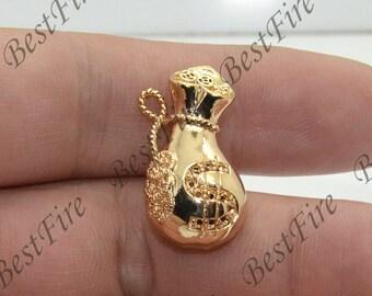24K Gold filled Brass Charm Money Bags Pendant Findings,necklace Findings,Jewelry findings,bracelet findings,earrings findings
