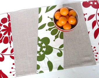 Table Runner -- Wonky Stripes -- Christmas Red, Green and Natural Linen - Ready to Ship