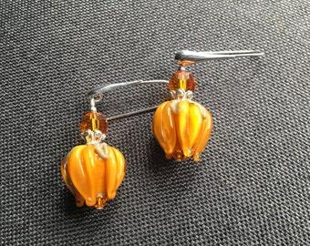 Tulip Lampwork Earrings, Glass Bead Jewelry, Peach Dangle Drop Earrings, Glass Bead Earrings, Orange Beadwork Earrings, Lampwork Jewelry