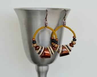 Beaded Hoop Earrings, Chunky Ceramic Art Bead, Shell, Glass, Shiny Copper, Hypoallergenic Niobium Ear Wire Earrings