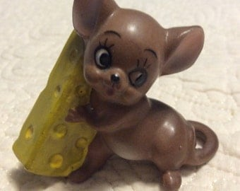 Vintage Josef Originals Cheese Mouse Figurine with tag Named Gourmet Japan 1960s Doctor Brown Anthropomorphic