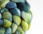 BFL/Silk wool roving - PLEIN AIR - hand dyed spinning & felting fiber - 4.20 oz