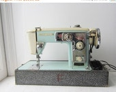 ON SALE Vintage Aqua Brother Model 210 Selectomatic IV Mid Century Sewing Machine with Case