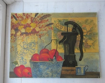 ON SALE Vintage Folk Painting - Still Life - Signed - 1979 - 18 x 24
