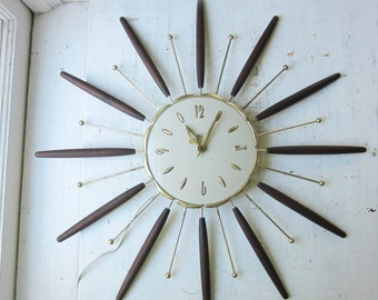 "Mid Century Starburst Wall Clock - Robert Shaw - 26"" Wood and Atomic Metal Rays - Mid Century Modern Home Decor 1963"