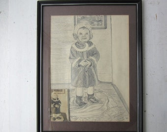 ON SALE Vintage Graphite Child's Portrait - 1980 - Original Signed Artwork