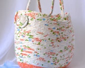 Peach Moses Basket, Handmade Gift Basket,  Lovely Peach Tote Bag, Soft Gift Basket, Peach Storage Basket, Craft Tote Bag