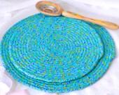 Blue Floral Trivet Set, Handmade Hot Pads, Azure Blue Table Mats, Blue Floral Potholders, Mug Rugs, Kitchen Decoration