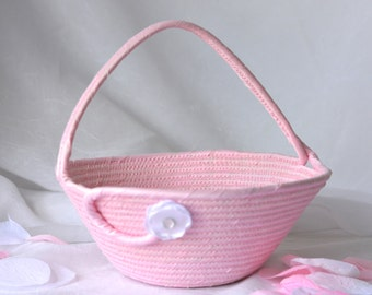 Flower Girl Basket, Handmade Pink Wedding Card Basket,  Pink Wedding Decor, Bridal Shower Gift, Gift Basket,