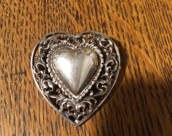 Valentine Special....Sterling Sivler Filagree Framed Heart Pin