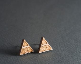 Wood Earrings, Triangle Stud Earrings, Surgical Steel Geometric Triforce Earrings
