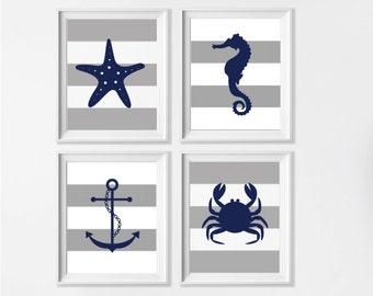 Nautical Nursery Art Prints, Boy Nursery Nautical Navy Grey Wall Art, Seahorse Anchor Sea Life Beach Ocean Nursery Wall Decor, Set of 4 Art