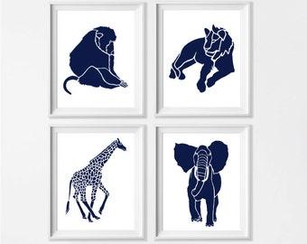 Safari Nursery Art , Navy Zoo Nursery Art , Nursery Art Safari Navy , Animal Nursery Wall Navy , Giraffe Elephant Jungle Nursery Wall Art