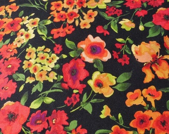 1 Yard P & B Textiles Breezy Floral Orange Peach Red Coral Green on Black