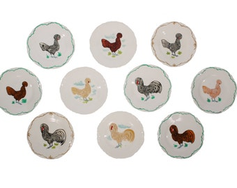 Set of 10 Chicken Plates - Hand Painted