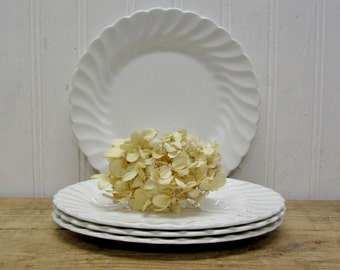 "Four Johnson Brothers 6"" Snowhite Regency Classic White Ironstone Small Bread Dessert Plates"